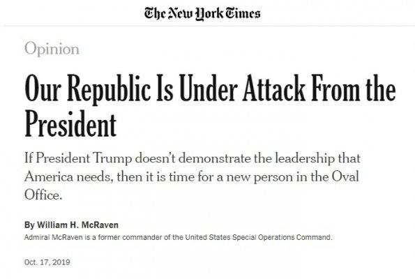 Sembrerebbe proprio che l'ammiraglio McRaven abbia appena invocato un colpo di stato